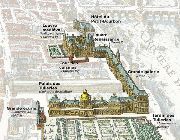 The Louvre, the Tuileries, the Grand Gallery and other buildings highlighted on this 1615 map of Paris.jpg